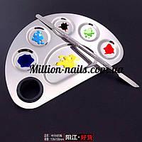 Набор маникюрный , металлический шпатель и палитра для смешивания красок(Радуга) маленькая