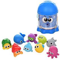 Игрушки для ванной - Набор морских животных для купания 10 шт, брызгалка, WinFun 7115-NI