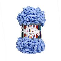 Пряжа Alize Puffy Fine 112 голубой (Пуффи Файн Ализе) для вязания без спиц руками
