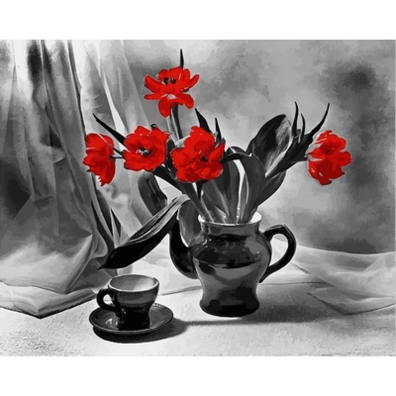 Картина по номерам Алые маки в вазе, 40x50 см., Babylon