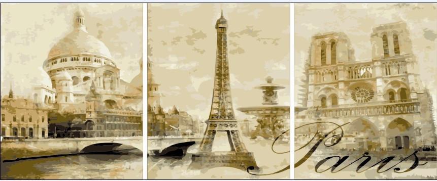 """Картина по номерам """"Париж (Триптих)"""", 50x90 см., Babylon"""