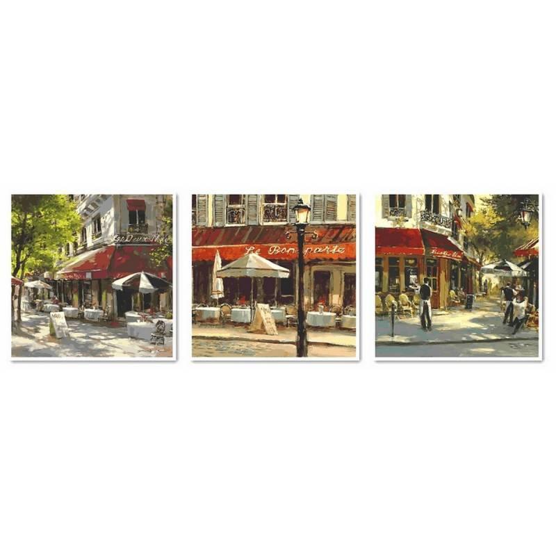 """Картина по номерам """"Летнее кафе (Триптих)"""", 50x150 см., Babylon"""