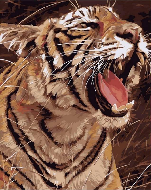 Картина по номерам Рычащий тигр, 40x50 см., Mariposa