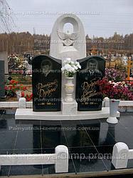 Памятник двойной из гранита и мрамора Коелга №3