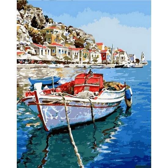 Картина по номерам Лазурные воды Греции, 50x65 см., Babylon