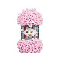 Пряжа Alize Puffy Fine 194 светло-розовый (Пуффи Файн Ализе) для вязания без спиц руками