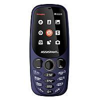 Мобильный кнопочный телефон на 2 сим карты с хорошей батареей Assistant AS-201 синий
