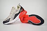 Жіночі кросівки Air Max 270 сірі з червоним. Живе фото, фото 5