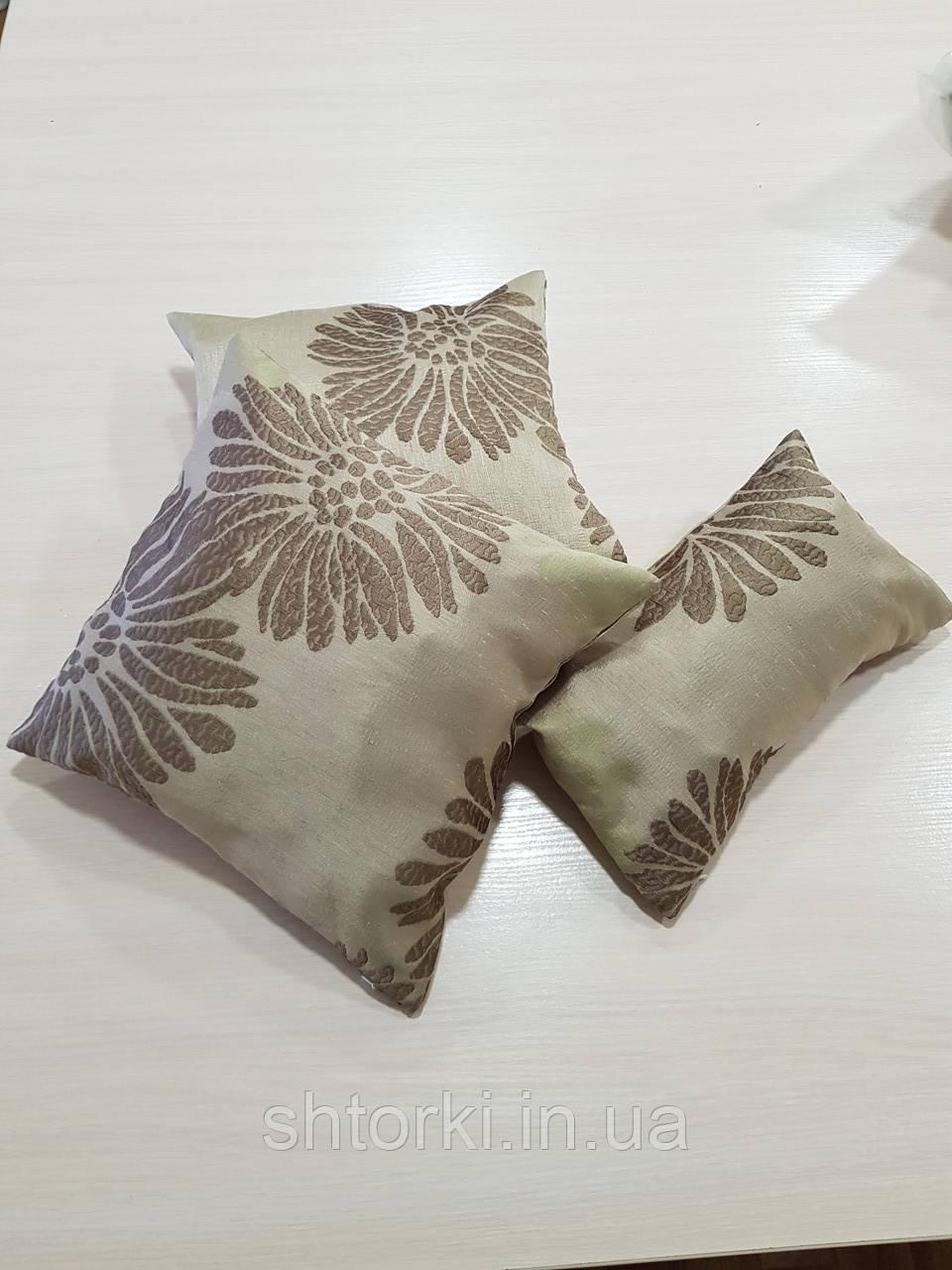 Комплект подушек коричневые Пионы на оливковом фоне , 3шт
