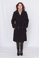 Пальто женское кашемировое классическое чёрное , двубортное  под пояс модель 4315