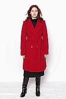 Пальто женское кашемировое классическое красное  ( бордо), двубортное  под пояс модель 4315 размер 42