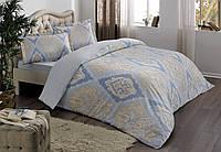 TAC Vales mavi  сатин семейный комплект постельного белья