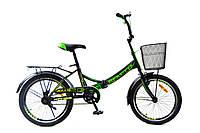 """Складной велосипед с корзиной и багажником Benetti Golly DD 20"""" (черно-зеленый)"""