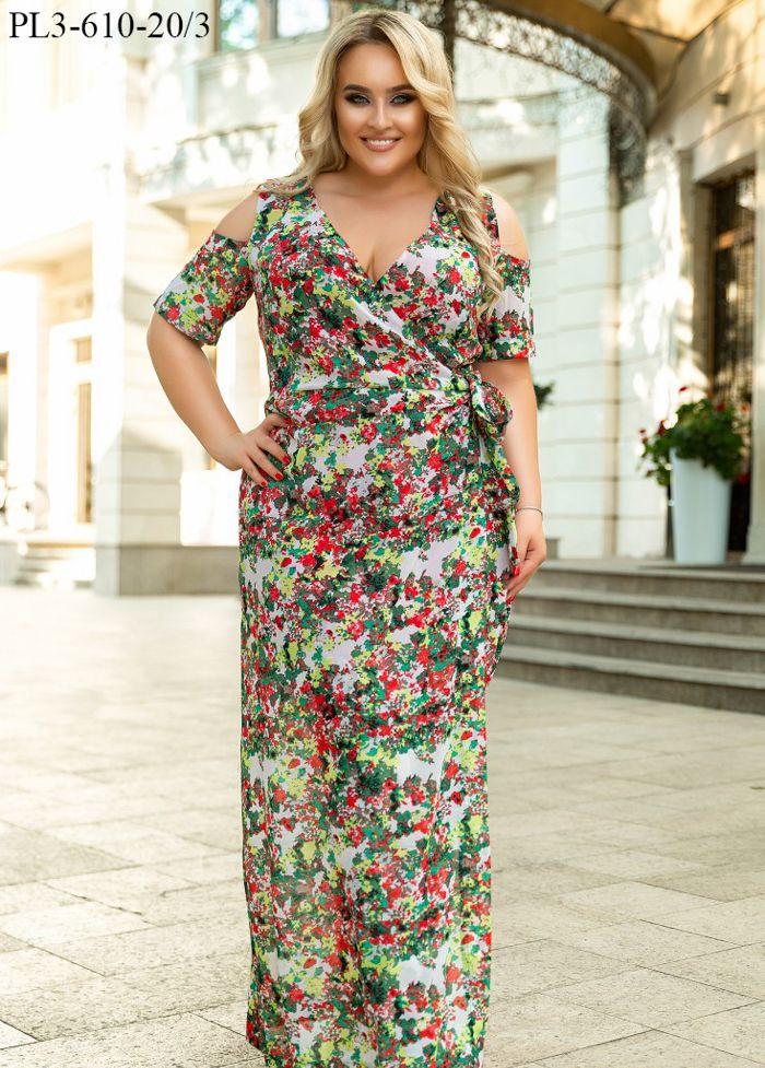 Женское летнее длинное платье из шифона на подкладке / размер 44,46,48,50