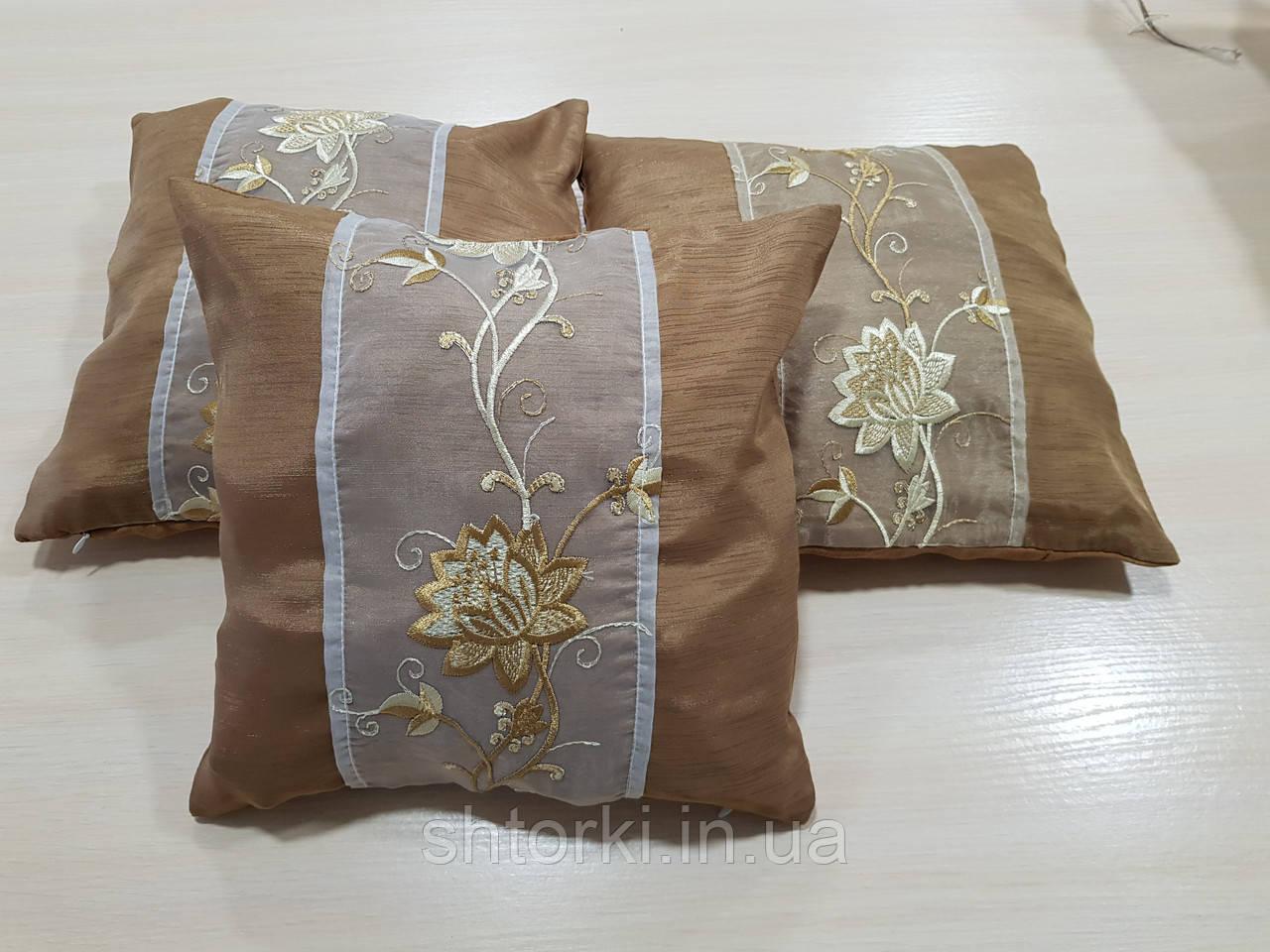 Комплект подушок Коричневі з квіткою 3шт