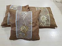 Комплект подушек Коричневые с цветком  3шт