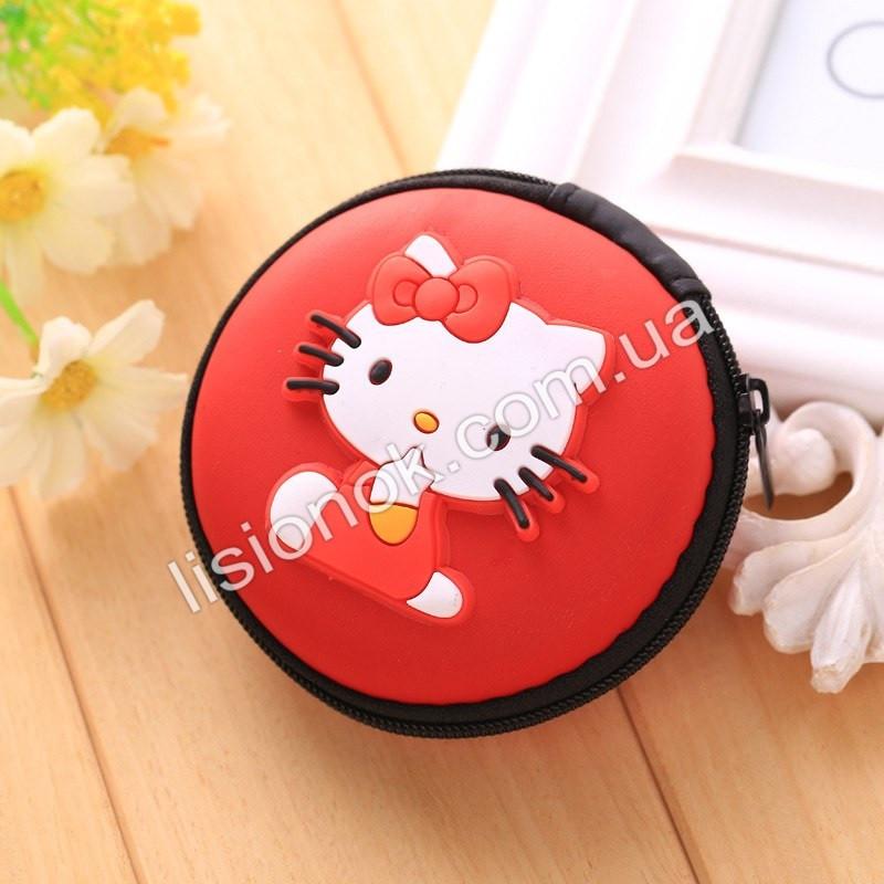 Силиконовый кошелек на змейке для девочки Hello Kitty красный