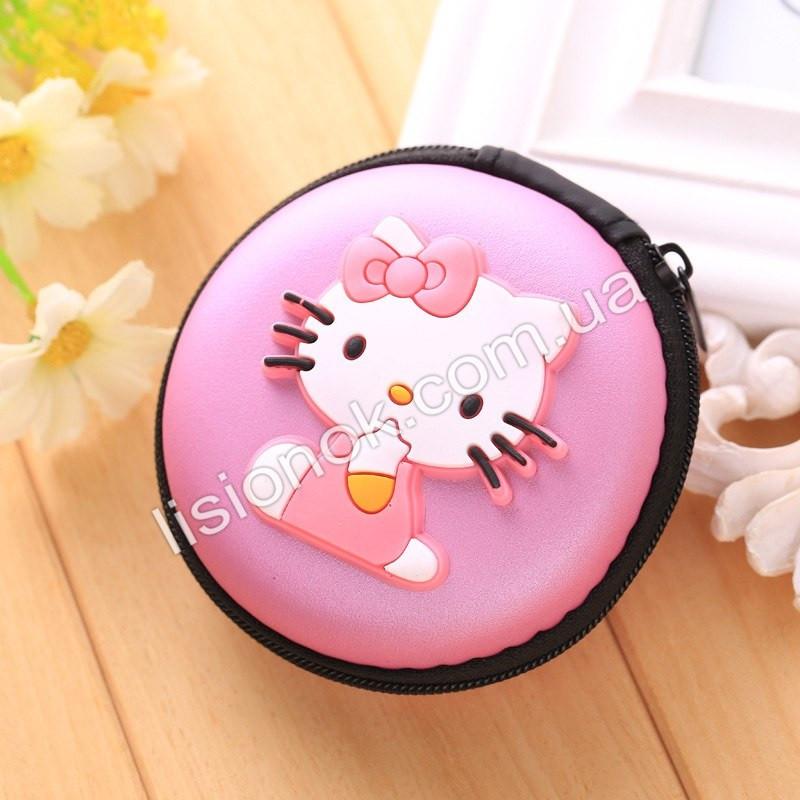 Силиконовый кошелек на змейке для девочки Hello Kitty розовый