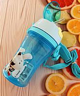 Детская бутылочка непроливайка для воды с ремешком. Голубая