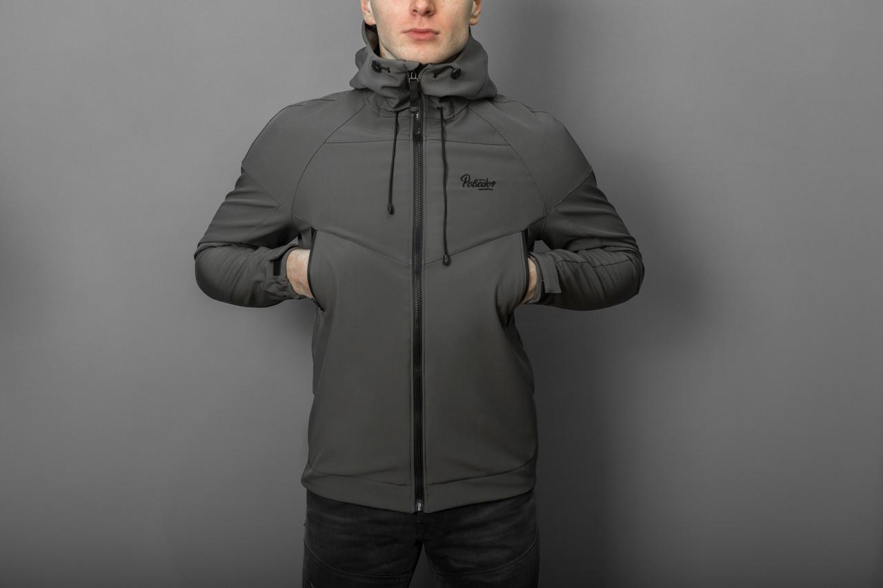 """Мужская Весенняя куртка Pobedov """"Soft Shell"""" (серый)"""
