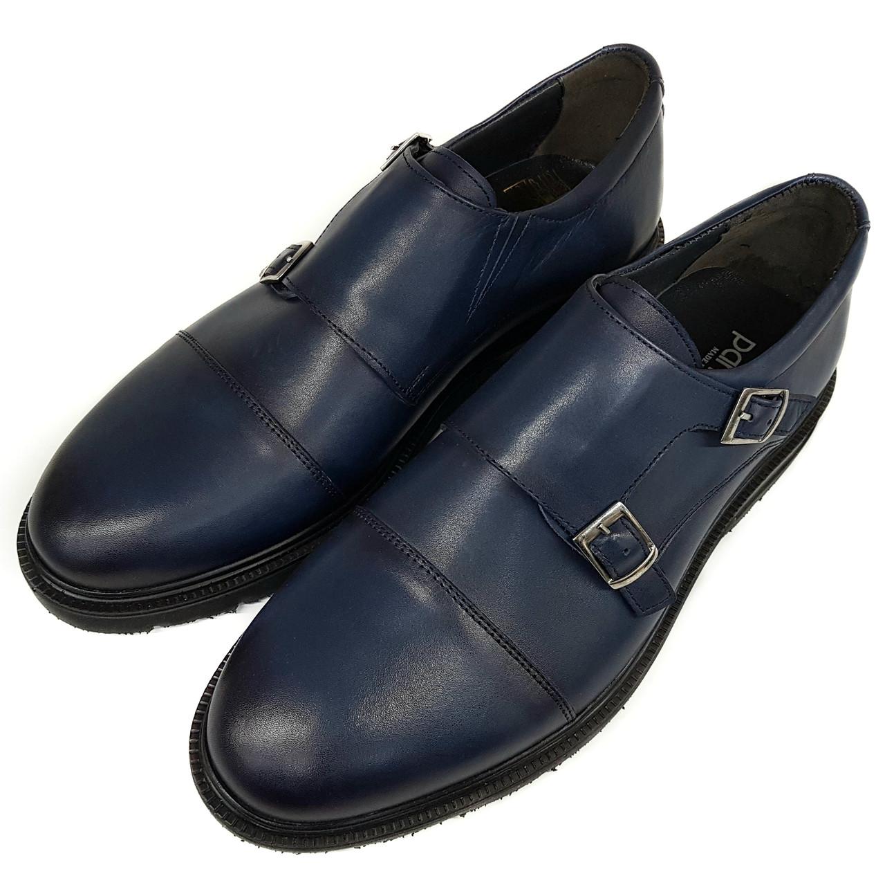 Мужские кожаные туфли монки без каблука Pandew синие SH0030