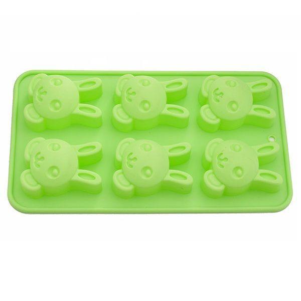 Форма для выпечки 6 кексов ЗАЙЧИК 26x14,5x3 см силикон 6654