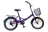 """Складной велосипед с корзиной и багажником Benetti Golly DD 20"""" (фиолетовый)"""