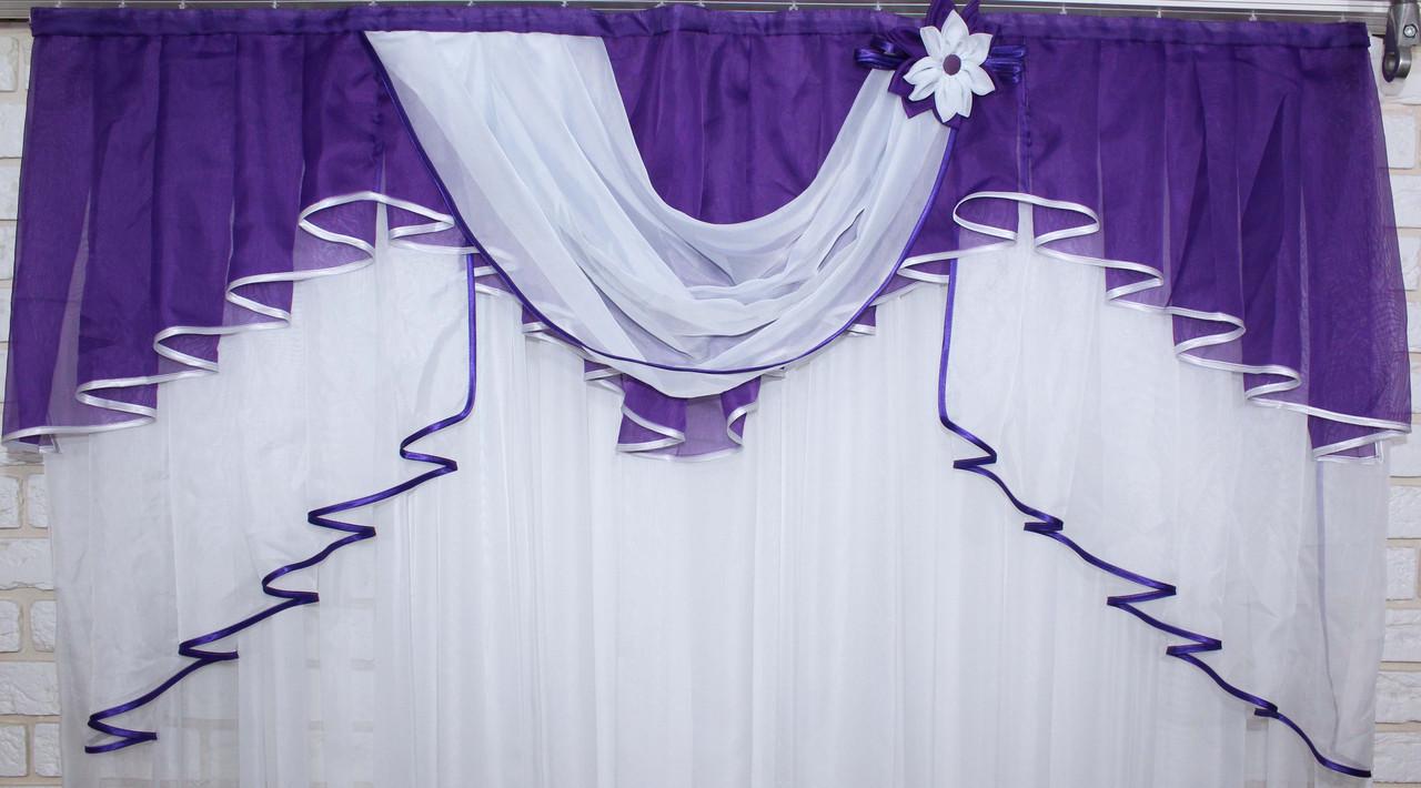 Ламбрекен №127 на карниз 1.5м. Цвет фиолетовый