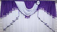 Ламбрекен №127 на карниз 1.5м. Цвет фиолетовый, фото 1