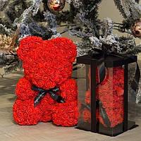 Мишка 40 см с коробкой из 3D фоамирановых роз Teddy de Luxe из искусственных цветов, 3д, пенопласт Тедди Красный, 25 см
