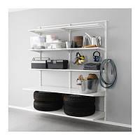 "IKEA ""АЛЬГОТ"" Настенная шина/полка/крючок, металл белый, 176x60x196 см"