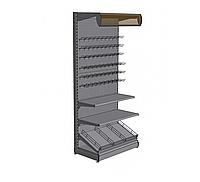 Новый торговый стеллаж с полками и перфорированными панелями для магазина. Торговое оборудование WIKO