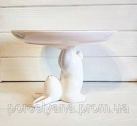 Керамическое блюдо пасхальное Ø25 см кролик-акробат