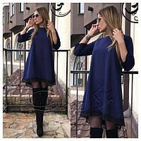 """Нарядное свободное платье а-силуэта с кружевом длиннее сзади рукав 3/4  """"Emma"""" темно-синее"""