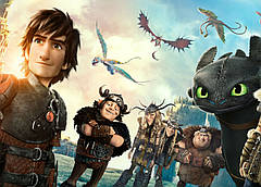 Картина GeekLand How to train your dragon Как приручить дракона постер к мультфильму 60х40см HD.09.003