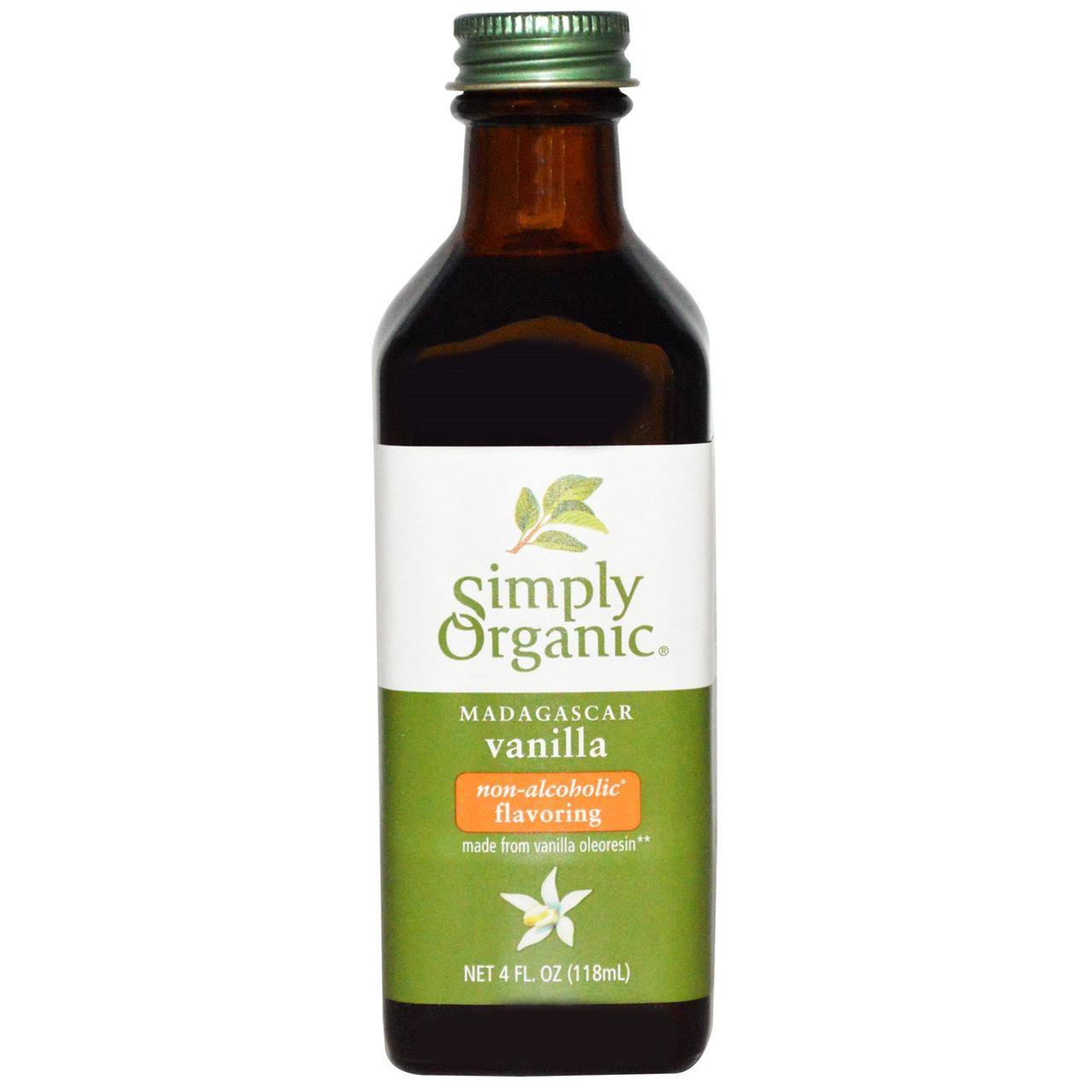 Simply Organic, Мадагаскарская ваниль, безспиртовой ароматизатор, выращено на ферме, 4 жидких унции (118 мл)