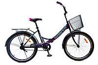 """Складной велосипед с корзиной и багажником Benetti Vista DD 24"""" черно-фиолетовый, фото 1"""