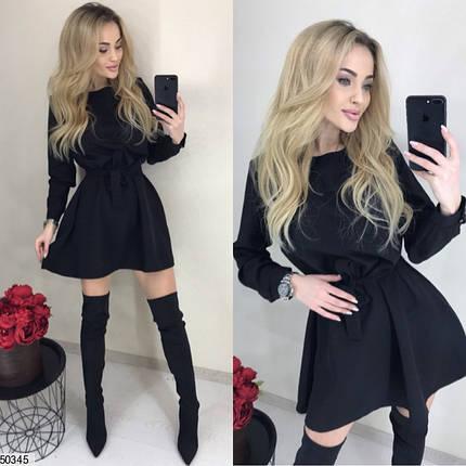 Стильное платье короткое свободное с поясом длинный рукав костюмка черного цвета, фото 2