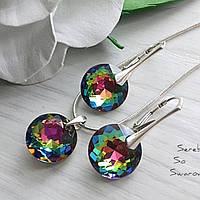 Серебряный комплект с камнями Сваровски в цвете Vitrail Medium