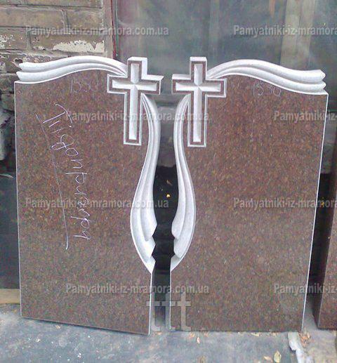 Двойной памятник из гранита крест с полотенцем № 3