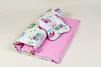 Комплект в коляску с подушкой бабочкой BabySoon Нежные совушки  (Три предмета), фото 1