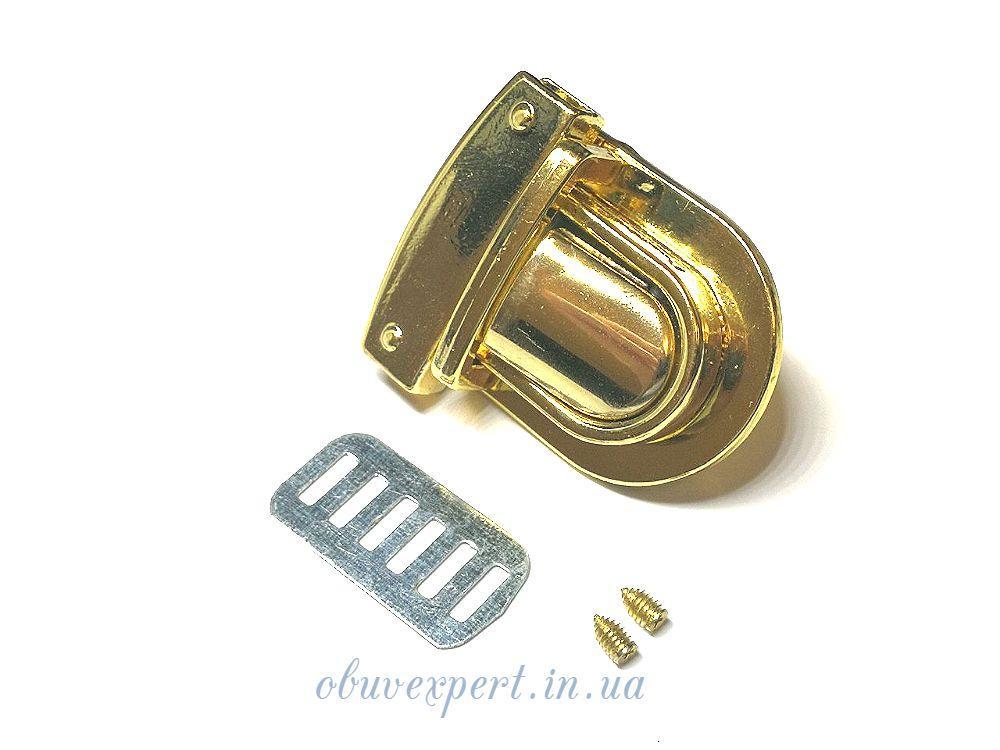 Замок сумочный, портфельный клавишный 28*29 мм  Золото