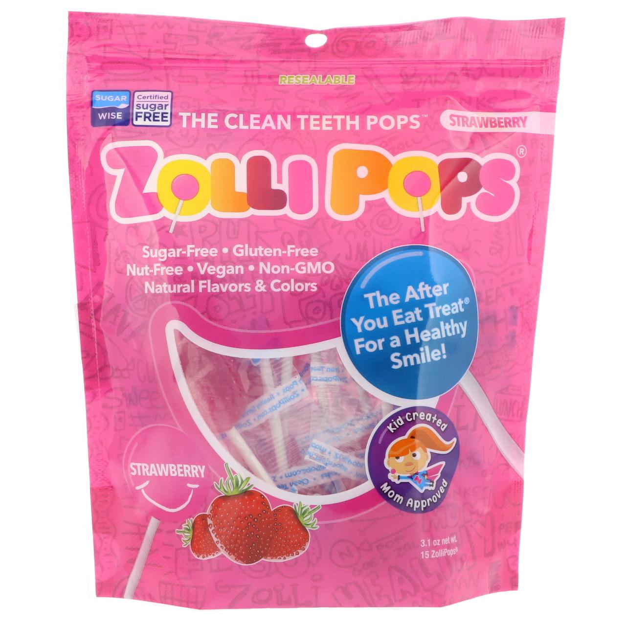 Zollipops , Леденцы на палочке The Clean Teeth Pops, с клубничным вкусом, 15 шт., (3,1 унц.)