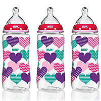 NUK, Бутылка с отлично подходящей соской, от 0 месяцев, средняя, сердца, 3 бутылки с широким горлом, 300 мл (10 унций) каждая