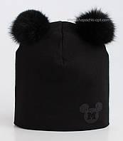 Шапка для девочек Маус черная с меховыми помпонами