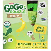 GoGo SqueeZ, Organic Applesauce, Apple Banana, 4 Pouches, 3.2 oz (90 g) Each