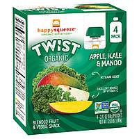 Happy Family Organics, Happy Squeeze, органические суперпродукты, Twist, органические яблоко, капуста и манго, 4 упаковки, 3,17 унции (90 г) в каждой