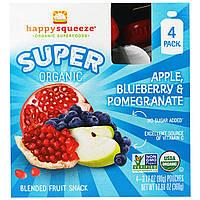 """Happy Family Organics, """"Счастливая выжимка"""", супер-органическое пюре с яблоком, черникой и гранатом, 4 пакета, 3,17 унций (90 г)"""