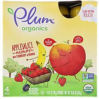 Plum Organics, Органическое яблочное пюре с клубникой и бананом, 4 пакетов, 3,17 унц. (90 г) каждый
