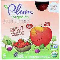 Plum Organics, Organics, яблочное пюре с клубникой и свеклой, 4 пакетика по 90 г